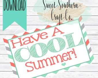 INSTANT DOWNLOAD*Have A Cool Summer,Class Gift,Popsicle Holder,Popsicle Tag,Summer,Last Day of School,Elementary,PreK,DigitalFile,Printable