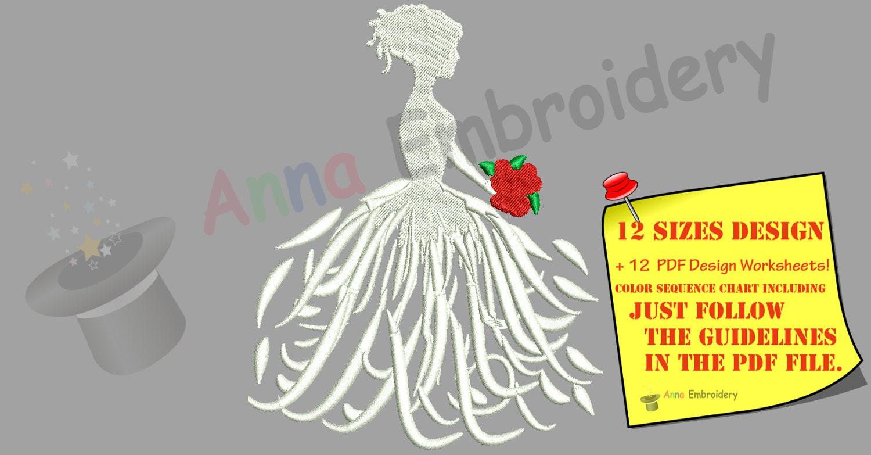 Bride dress wedding embroidery design machine