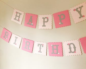1st Birthday Banner, Pink Birthday banner, Pink Themed Party, 1st Birthday Girl, Party Decorations.