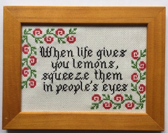 When life gives you lemons... finished and framed cross stitch