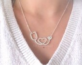 Stethoscope Necklace - Heart Necklace - Heartbeat Necklace - Nurse Necklace - Nurse Gift - Doctor Necklace - Doctor Jewelry - Doctor Gift