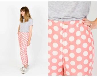 Vintage pink polka dot trousers
