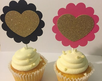 Pink, black and gold cupcake toppers