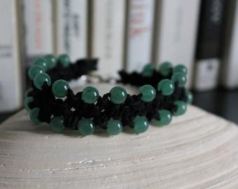 Green aventurine/black hemp hand-knotted bracelet
