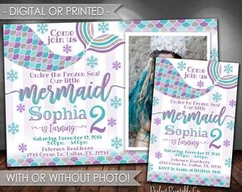 Mermaid Invitation, Mermaid Birthday Party Invitation, Mermaid Invite, Winter Wonderland, Snowflake, Christmas, Teal Purple Silver #571