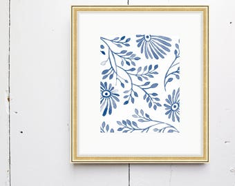 Soft Floral Watercolor Print- SMc. Originals, watercolor painting, rustic, modern, original artwork, watercolor print, simple, pattern print