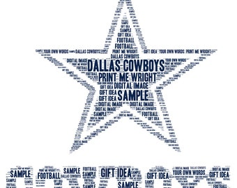 Personalised word art, resembling Dallas Cowboys design, gift idea for fans, Father's Day; birthdays, American football