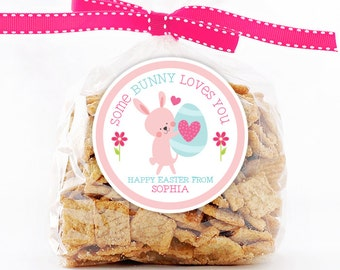 Personalized Stickers Some BUNNY Loves You, Easter Circle Stickers, Easter Party Favor, Happy Easter Bunny Circle Stickers