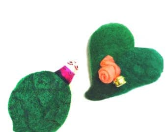 Turtle and Roseheart, Needle Felted Ornaments.