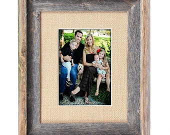 BarnwoodUSA 16x20 Inch Signature Picture Frame for 11x14 Inch Photos- 100% Reclaimed Wood, Burlap Mat