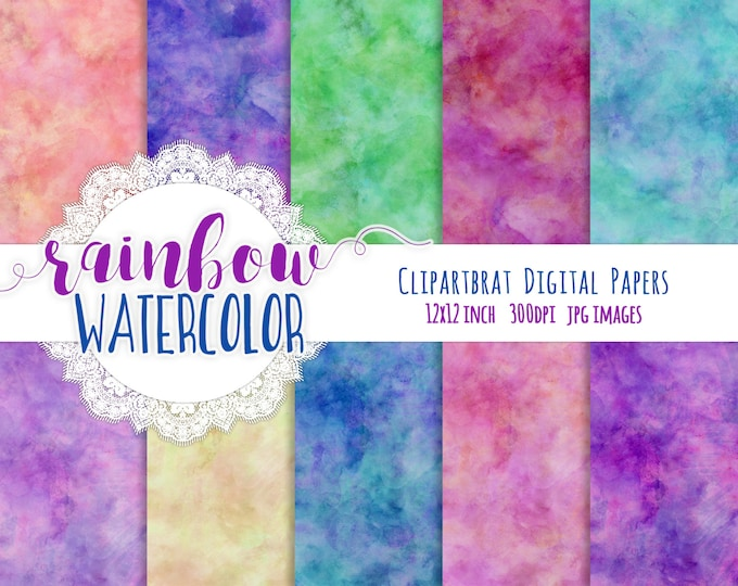 RAINBOW WATERCOLOR Digital Paper Pack Pink Purple Blue Green Commercial Use Digital Paper Watercolour Textures Printable Scrapbook Paper
