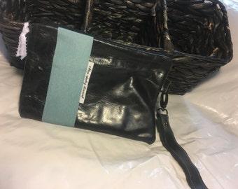 Handmade Black Leather and Blue ribbon Wristlet set