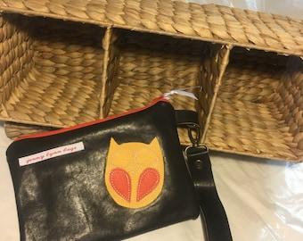 Handmade Brown leather owl wristlet set