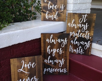 Love is patient, love is kind, 1 Corinthians 13, Wedding aisle signs, set of 4, hand painted rustic wood signs, rustic wedding decor signs
