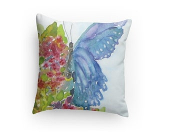 Decorative Butterfly Pillow, Watercolor Design, Throw Pillow , Butterfly Design, Home Decor, with pillow insert