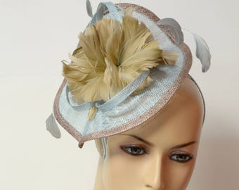 Blue/Bronze sinamay feather fascinator,high quality,beautiful and elegant fascinator.Perfect for all occasions with this fascinator