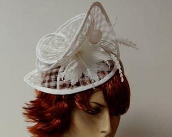 White sinamay fascinator on a headband, beautiful and elegant, Fancy fascinator,Kate Middleton,Women's Tea Party,Kentucky Derby fascinator