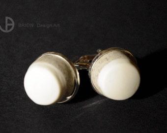 Cufflinks porcelain, brown part dyed, Matt, d 20 mm