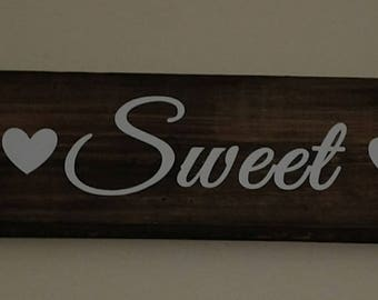 Home Sweet Home Wood Sign- White Letters- Approx 24in x 4in- Home Decor- Wall Art- House Warming- Wedding- New Home- Gift-
