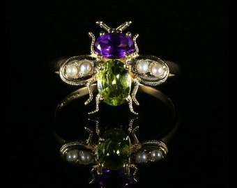 Suffragette Bee Ring 18ct Gold and Silver Peridot Amethyst Pearl suffragette style