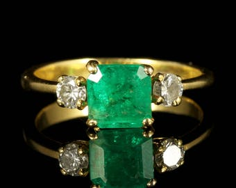 Antique Emerald Diamond Ring 18ct Gold Engagement Ring