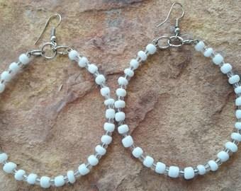 Big hoop earrings minimalist simple handmade earrings gift mother birthday white earrings minimalist fashion spring wedding trendy fashion