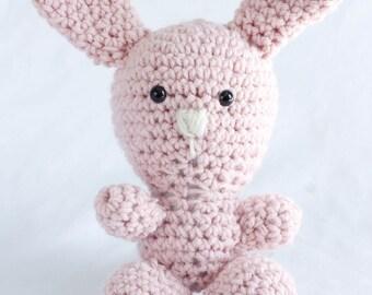 Pink amigurumi stuffed crochet bunny