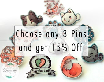 Lapel pin, Pack of pins, Choose any, brooch set, Mix and match