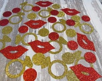 Bachelorette Wedding Confetti , Circles, Diamond Rings Hot Lips,  Weddings - Bridal Shower, Baby Shower, Engagement Party