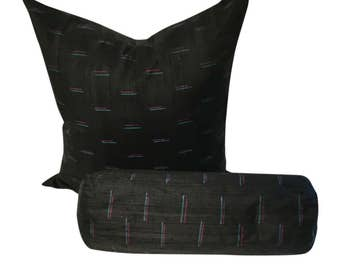 Black Silk Pillow Cover, Black Indian Silk Pillow with Colors, Dupioni Silk Throw Pillow, Black Couch Pillow in 16x16, 18x18, 20x20