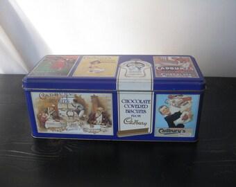 Cadbury's Tin / Cadbury's Retro Advertising Tin / Vintage Hinged Cadbury's Tin / Rectangular Cadbury's Chocolate Covered Biscuits Tin