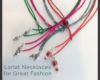 Glass Bead Lariat Necklace