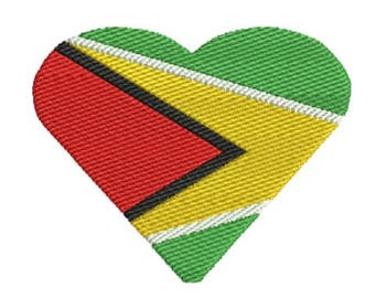 Guyana South American Flag Heart Embroidery Design