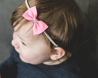 Set of 3, Felt Bow, Nylon Headband, Bow clip, Baby headband, Newborn headband, Toddler clip, Baby nylon headband, Baby bow, Toddler bow