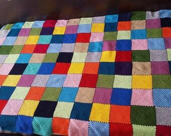 Crochet Afgan Colourful Blanket, Granny Square Multicolour Handmade Crochet Blanket Vintage Crochet Granny Square Afgan Rainbow/ multicolor