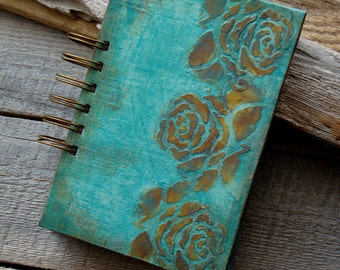 Vintage style notebook,Handmade notebook,Girl's diary,Diary,A6 notebook,Gift for her,Spiral notebook