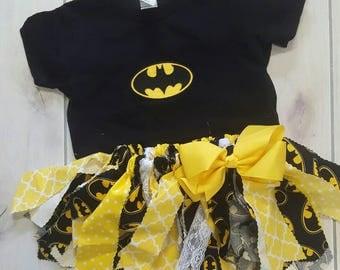 Batman theme Fabric Tutu and shirt, Girl's Scrappy Fabric Tutu, Superhero Tutu, Toddler Tutu, Black and Yellow fabric tutu