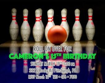 Bowling Pins Bday Invitation