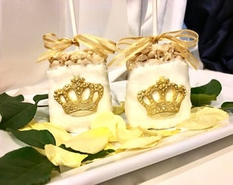 Gold and White Crown Chocolate Covered Rice Crispy Treats