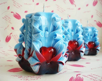 Carved candles, baby-gifts for valentines day-Valentine's day gift-blue/red-carved candles-Valentine's day
