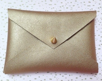 gold  matte envelope wallet