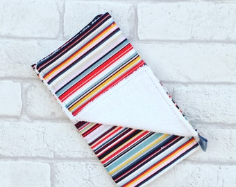 Burp Cloth // Baby burp cloth with multi-coloured stripes from newborn