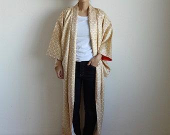 kimono, Japanese kimono, maxi kimono, Japanese dress, geodetic, cream/ 1124