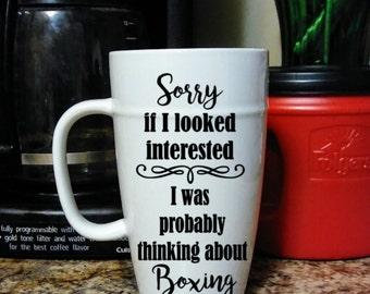 Thinking about Boxing 18 oz Ceramic Latte Mug, Custom Mug, Personalized Mug, Coffee Mug, Tea Mug, Gift for Boxing Lover, Interest in Boxing
