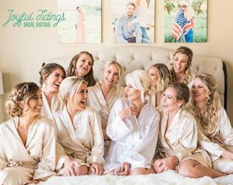 FREE ROBE Set of 7+ Satin Bridesmaid Robes, Bridesmaid Gift, Wedding Robe for Bridesmaid Proposal Gift Set, Bridal Party Robe, Bridal Robe