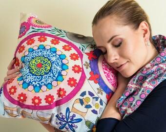Pink mandala original artwork print cushion with insert, 45x45 cm