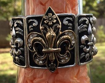 Black/Silver Bracelet with Black/Gold and Rhinestone Fleur De Lis  Silver Bead Band