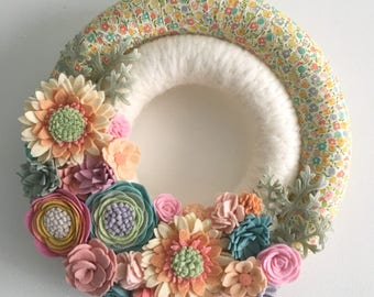 Felt flower wreath, rainbow wreath, yarn wreath, wrapped wreath