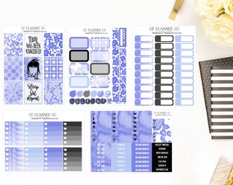 Monday Blues Collection Planner Stickers, to fit your Vertical Erin Condren Life Planner, African American, Dark Skin Tone
