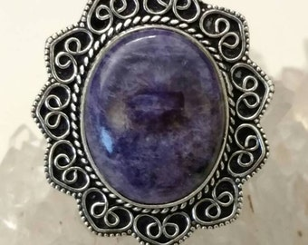 Charoite Ring, Size 7 1/2